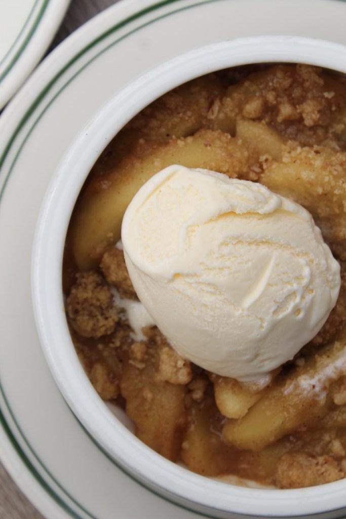 Apple Cobbler with Scoop of Vanilla Ice Cream