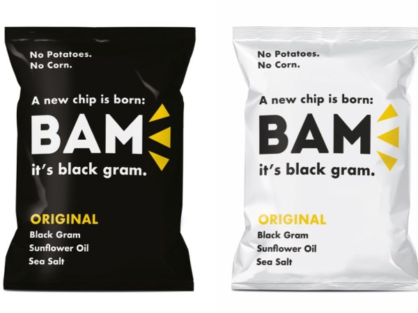 "Satisfy the ""Munchies"" with BAM Chips! The first black gram chip."