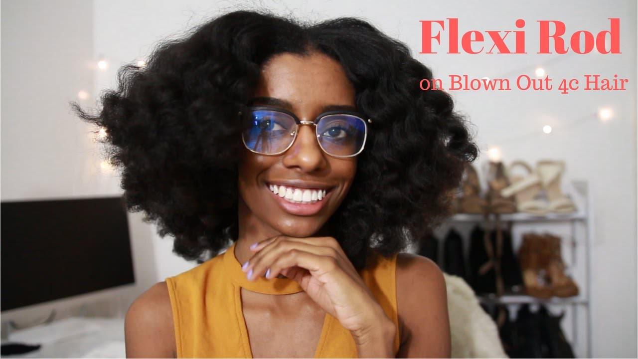 Flexi Rod Set On Blown Out 4c Natural Hair Black Hair