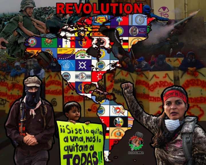 map of turtle island with indigenous flags and text saying Revolution
