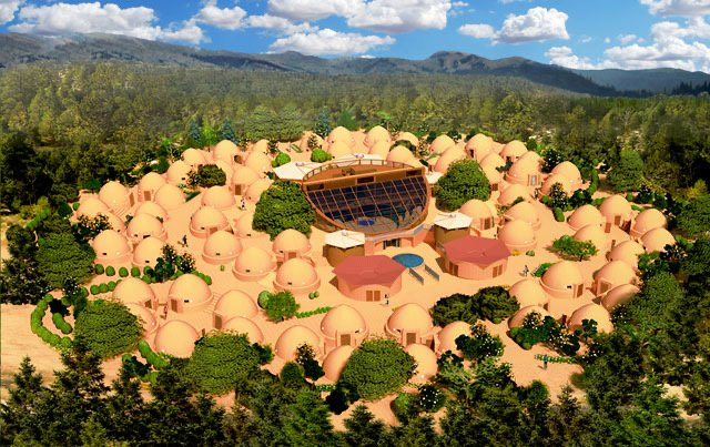 Image showing houses of hammer city in a cluster in the woods