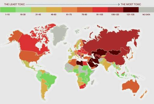 map of the world of most to  least toxic