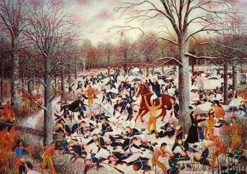 Painting of colonizers dead in snow at Battle of Wabash