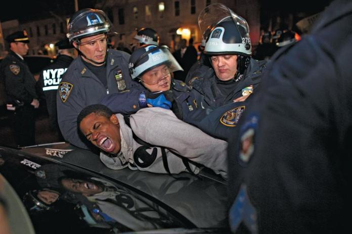 African man being arrested