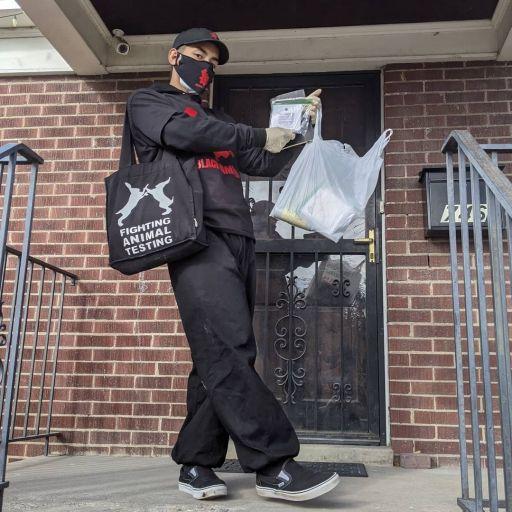 Sgt. Boa door to door PPE drop
