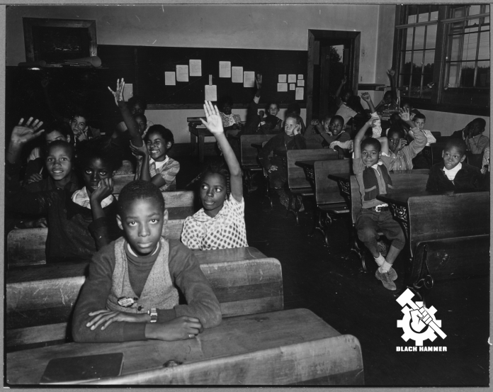 African school children siting in a classroom
