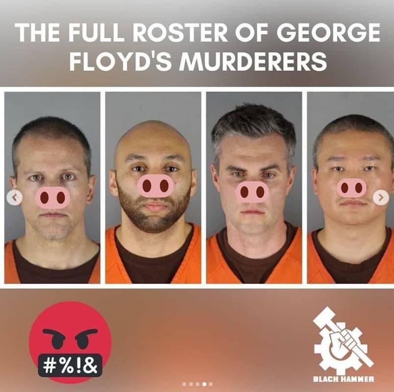 "From Black Hammer Social Media Post: ""The Full Roster of George Floyd's Murderers"""