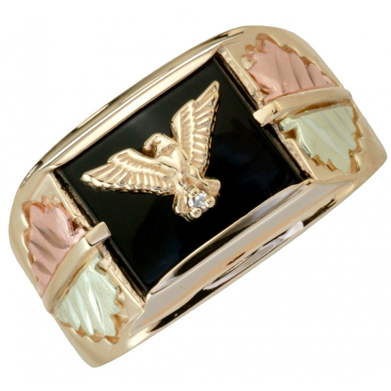 10k Black Hills Gold Eagle Onyx Ring Accented With Diamond