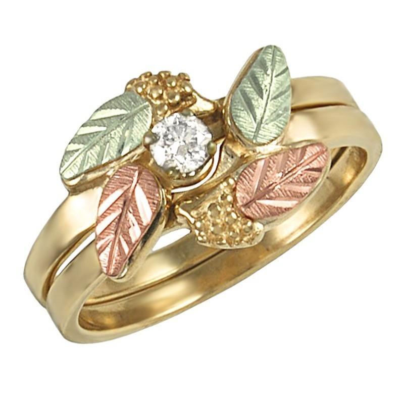 10K Black Hills Gold Diamond Bridal Set Ring Size 6 W 0