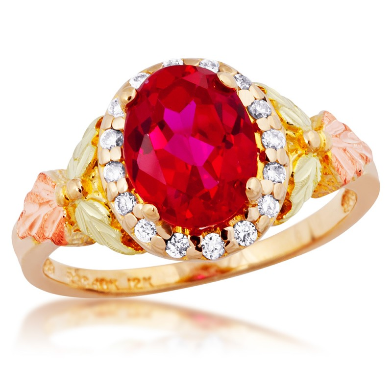 Stunning Tri Color 10K Black Hills Gold Lab Created Ruby