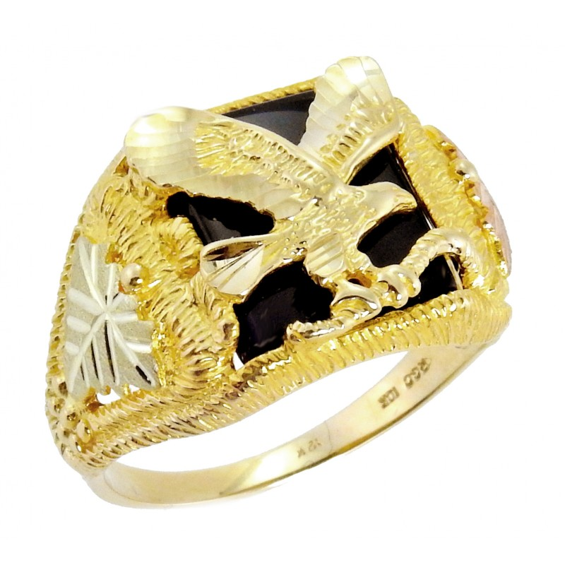 Tri Color 10K Black Hills Gold Mens Eagle Ring W Onyx By