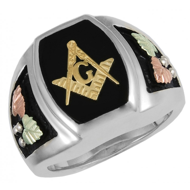 Black Hills Gold On Sterling Four Tone Silver Masonic Ring