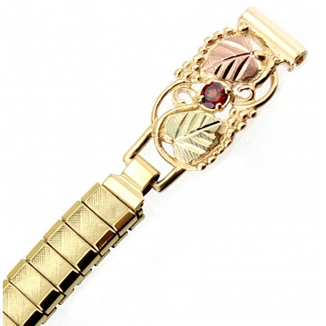 Tri Color 10K Black Hills Gold Ladies Watchband With 12K