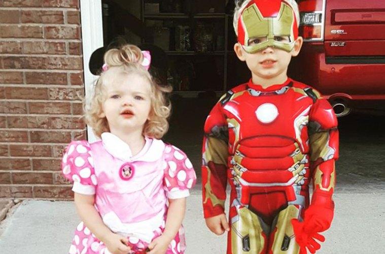 Halloween Cuties Superhero and Minnie Mouse