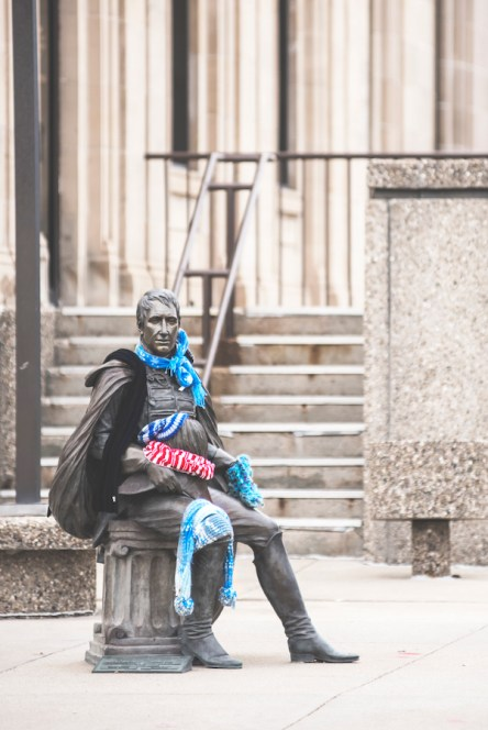 President Harrison Statue- Downtown Clothing Drive