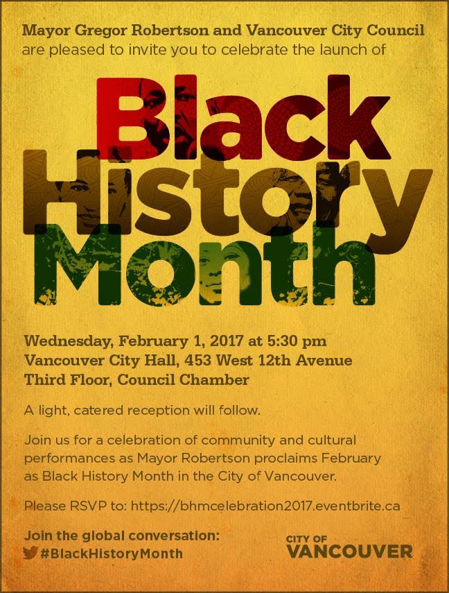 Community Event City Of Vancouver Black History Month Launch Feb 1 2017 Vancouver City