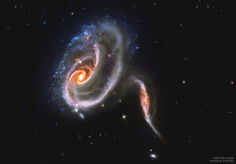 The interacting galaxies Arp 273 observed by the Hubble Space Telescope.