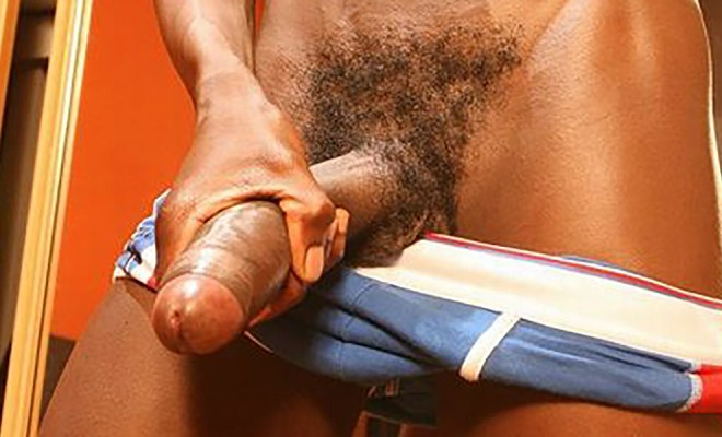 Skinny African Boy with a Thick Uncut 13″ Cock