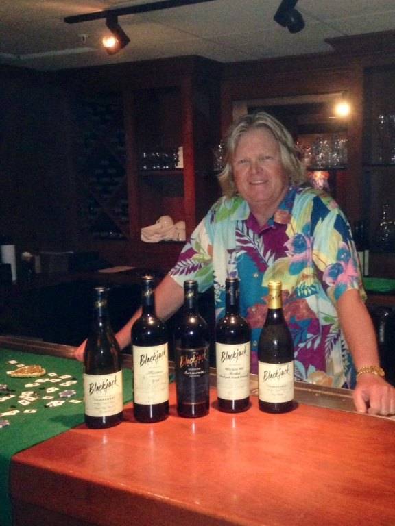 Roger Wisted enjoys wine tasting at blackjack ranch vineyard