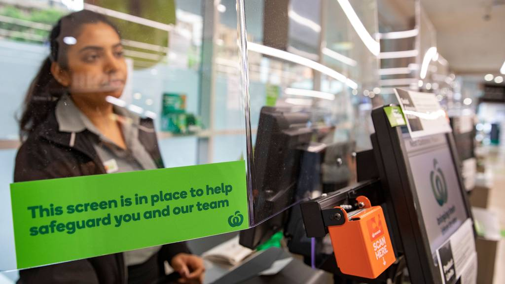 protective screens at woolworths shops