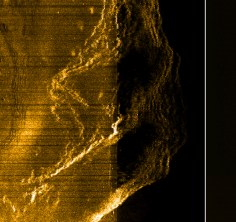 Side Scan Sonar Second Sweep Return of a Rocky Island