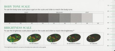 Australian Opal body tone and brightness chart