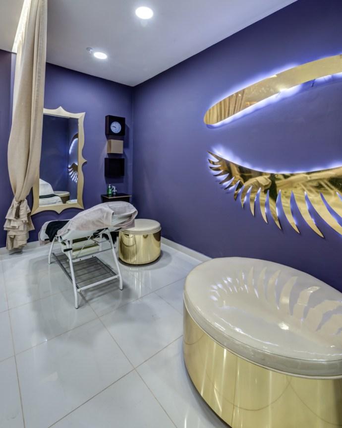 Brow bar salon interior design by Blackline retail interiors pantone colour of the year ultra violet purple retail design