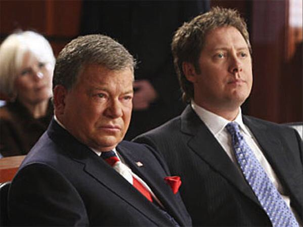 Boston Legal: James Spader as Alan Shore – In court w Denny (Wm Shatner)