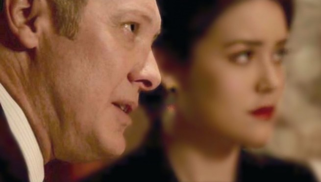 """Red describes negotiation as a tango: """"a sensuous battle… a seduction."""" James Spader and Megan Boone in The Blacklist"""