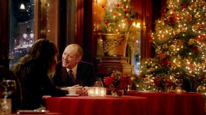 Christmas. Stephanie Szostak and James Spader [3:13 Alistair Pitts] The Blacklist