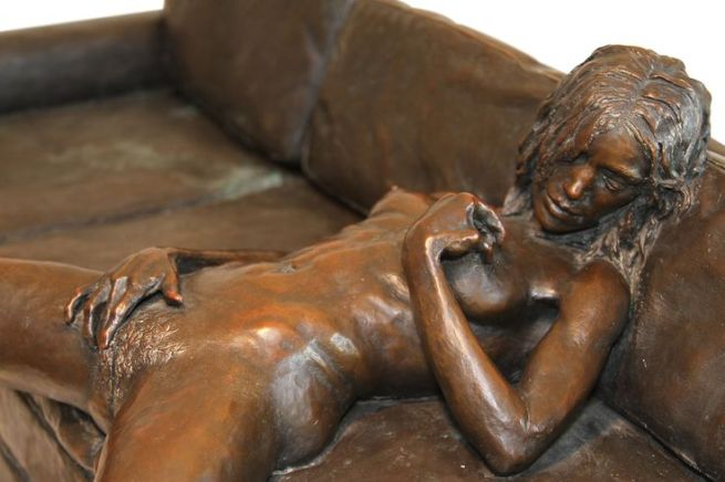 """Leslie Stefanson Bronze, """"On the Couch"""""""