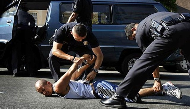 US police officers arrest a black protestor in Las Vegas. (file photo)