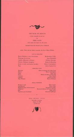 """Program for performance on August 14, 1948 of """"The Ruse of Medusa: a lyric comedy in one act"""" by Erik Satie. Cast included: Buckminster Fuller, Isaac Rosenfeld, William Shrauger, Elaine de Kooning, Merce Cunningham, and Alvin Charles Few. Direction by: Helen Livingston and Arthur Penn. Dance by: Merce Cunningham; Music performed by: John Cage. Courtesy the North Carolina State Archives"""