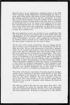 """#3 No. 5, 1938 - """"Work with Material"""" Black Mountain College Bulletin. Courtesy of Western Regional Archives"""