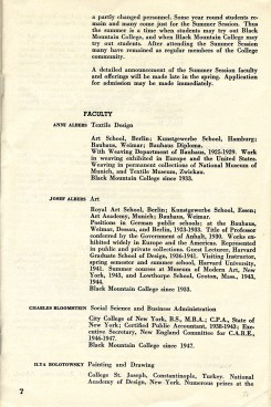 Black Mountain College Bulletin, Announcements 1948-49, S. 6. Courtesy: Black Mountain College Museum + Arts Center.