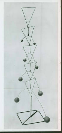 Sculpture by Kenneth Snelson - iron wire and plasticine, 55 cm high; Release No.: BMC Doc. #4 a-Snelson, Photographer: Kenneth Snelson, winter 1948. Courtesy of Western Regional Archives.