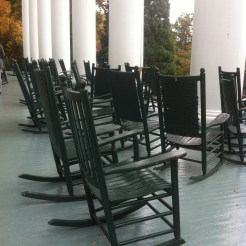 Rocking Chairs on the porch of the Blue Ridge Lee Hall of Black Mountain College near Asheville, North Carolina. Photo: Matilda Felix, 2014.