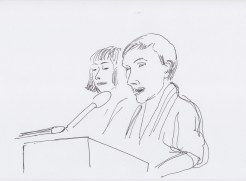 Yvonne Reiners and Christina Kral drawn by Nikolaus Baumgarten.