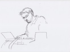 Matt Wright on the turntables drawn by Nikolaus Baumgarten.