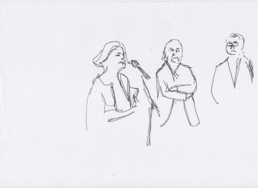 Welcome by Gabriele Knapstein, Eugen Blume and Annette Jael Lehmann drawn by Nikolaus Baumgarten.