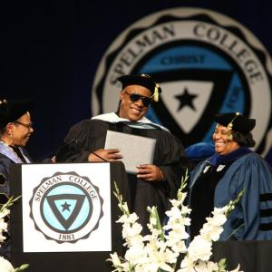 Music legend, Stevie Wonder receives Honorary Degree from Spelman College. 2016.