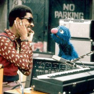 Stevie Wonder and Grover on Sesame Street, 1973.