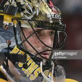 PHILADELPHIA, PA - NOVEMBER 8: Goaltender Andrew Raycroft #1 of the Boston Bruins looks on against the Philadelphia Flyers during their NHL game on November 8, 2005 at the Wachovia Center in Philadelphia, Pennsylvannia. The Flyers defeated the Bruins 4-3 in overtime. (Photo by Jim McIsaac/Getty Images)