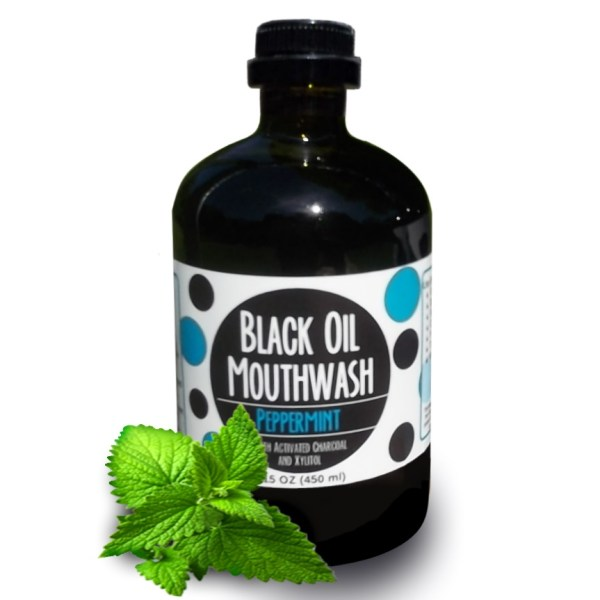 Black Oil Mouthwash 15 oz. Glass Bottle, Sweet Peppermint