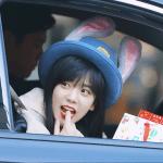 Blackpink Jisoo bunny bowler hat car photos inkigayo