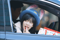Blackpink Jisoo bunny bowler hat car photos inkigayo