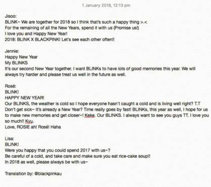 Blackpink New Year Greetings English Translation