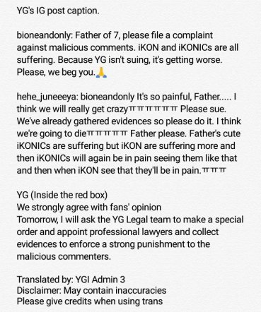 Report Malicious posts to YG Entertainment