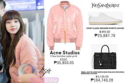 Blackpink Lisa Airport Fashion bomber jacket 25 march 2018