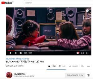 Blackpink-Whistle-200-million-youtube-views